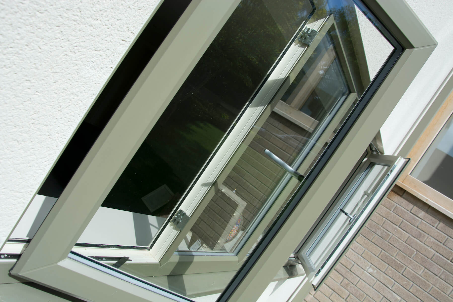 Close up of coloured upvc window