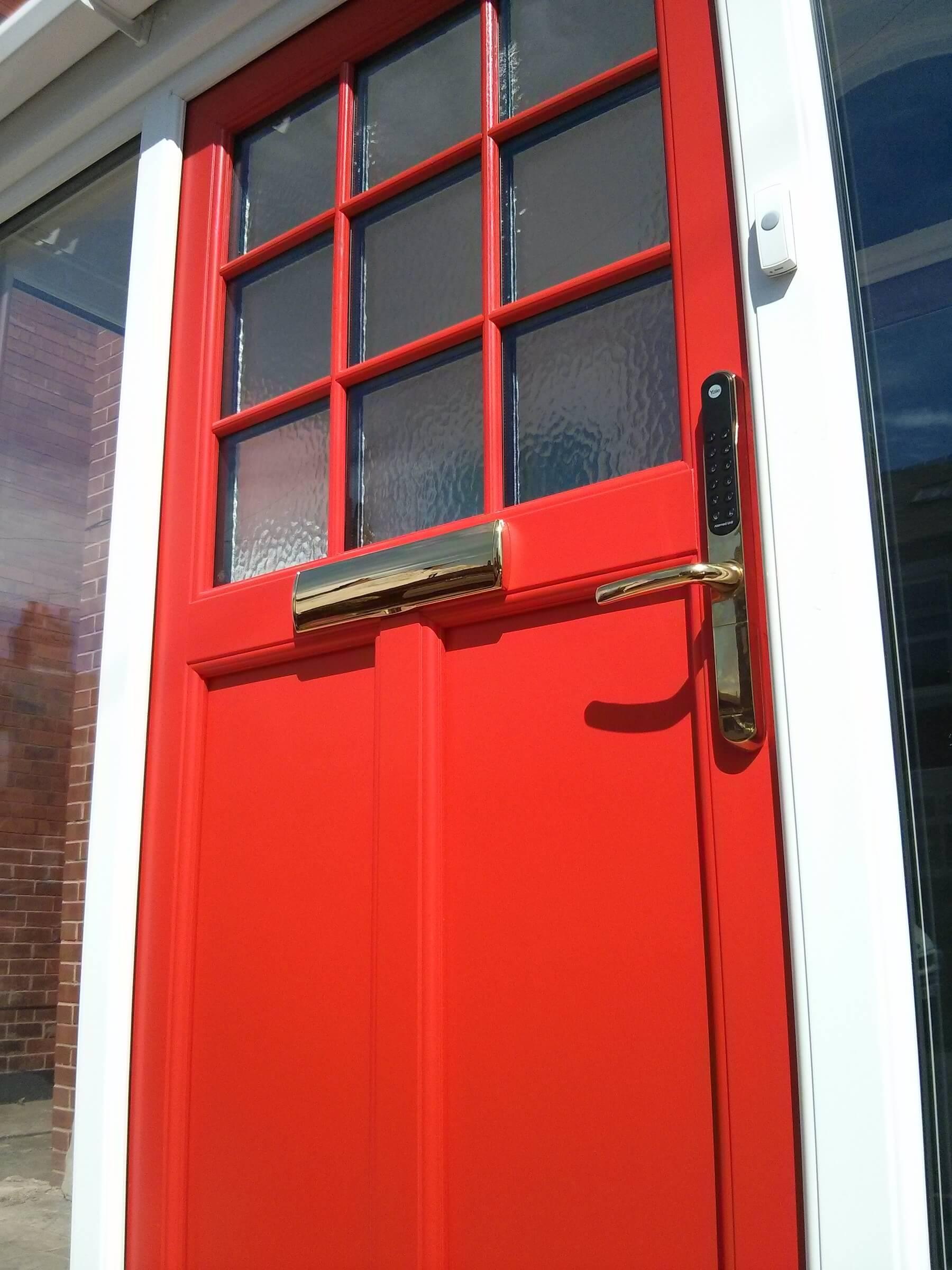 Close up bright red door