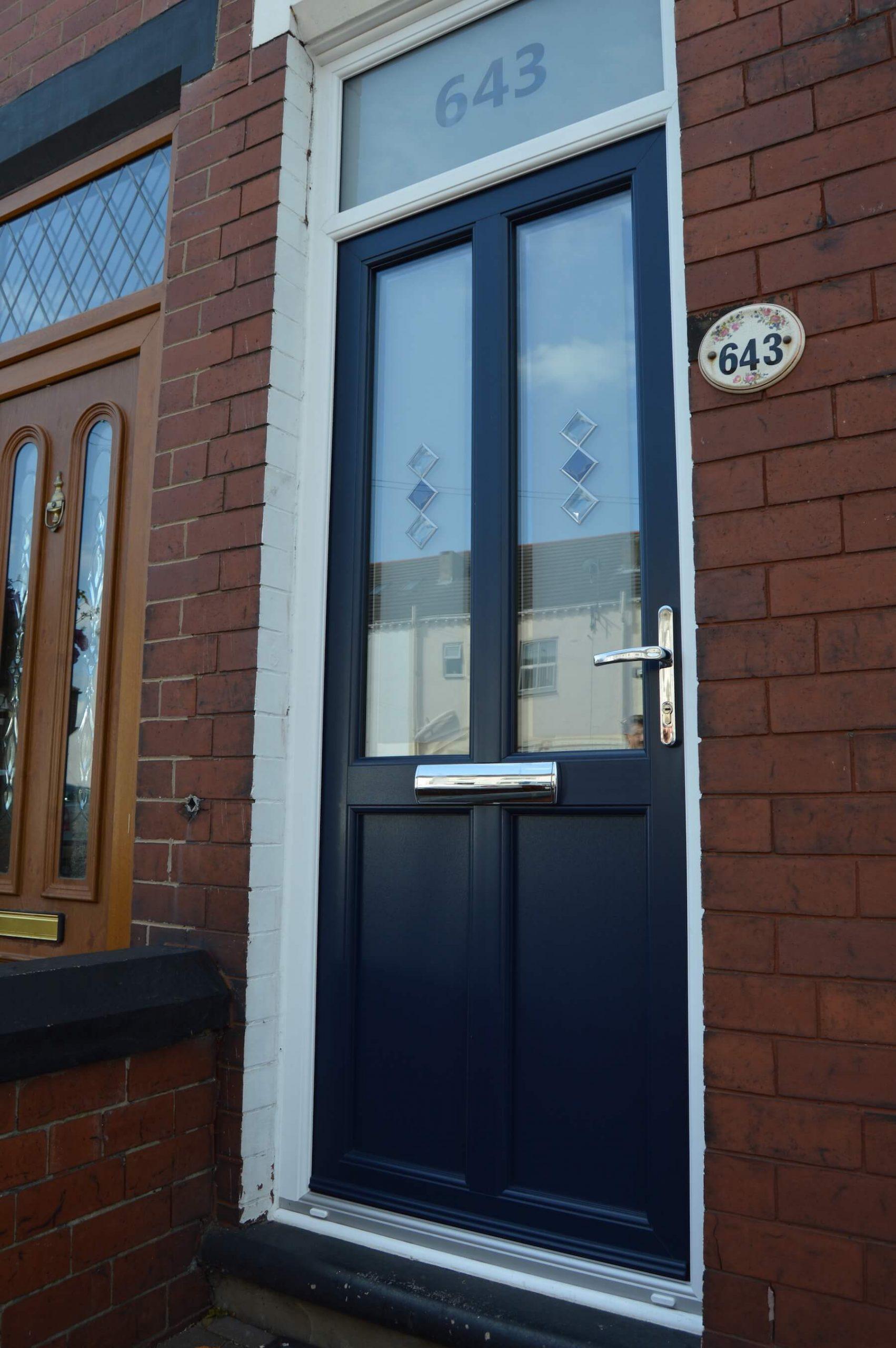 Deep navy coloured entrance door