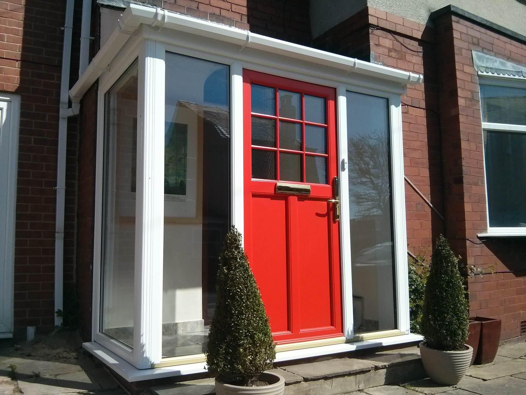 Deep red entrance door
