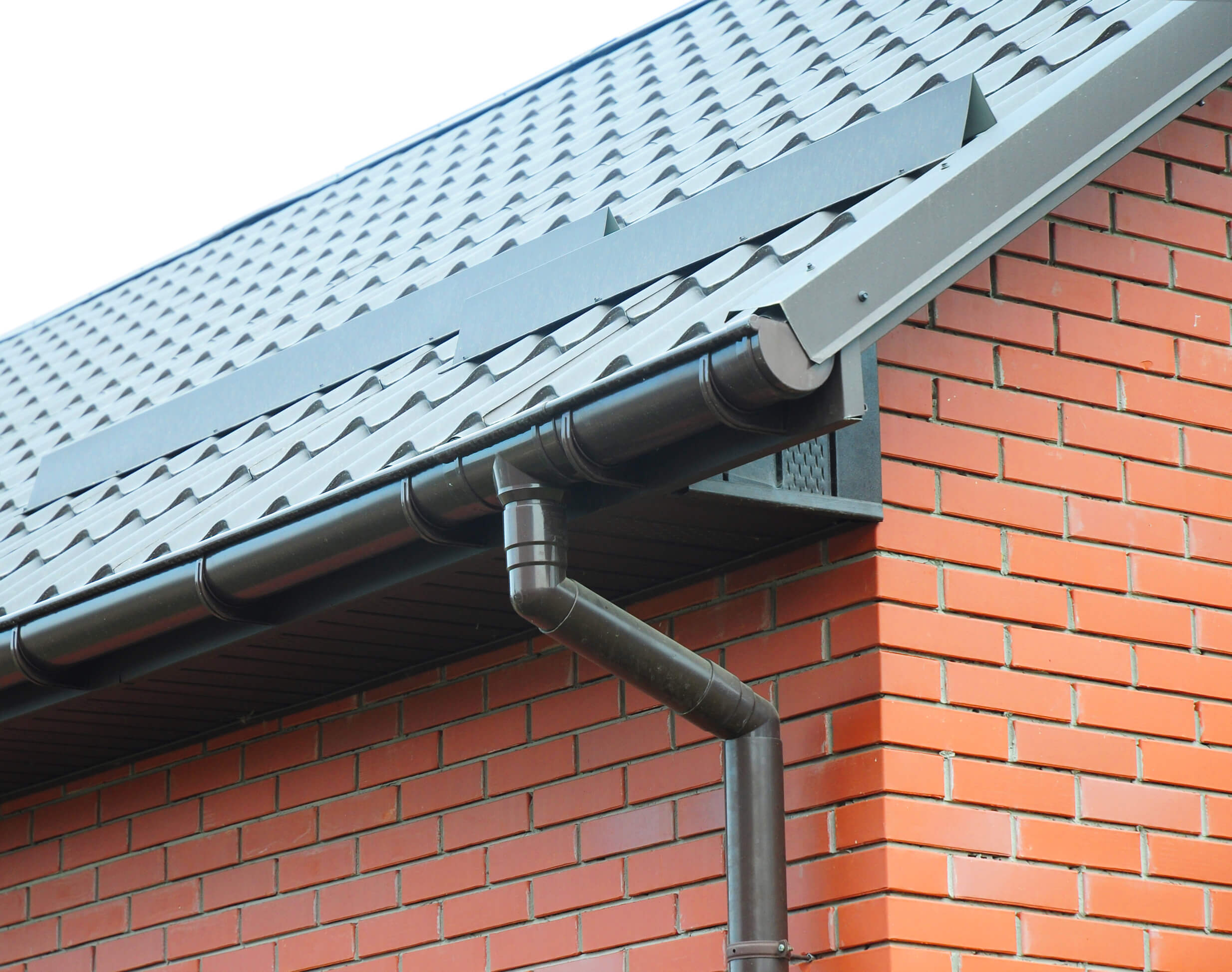 Guttering on a brick house