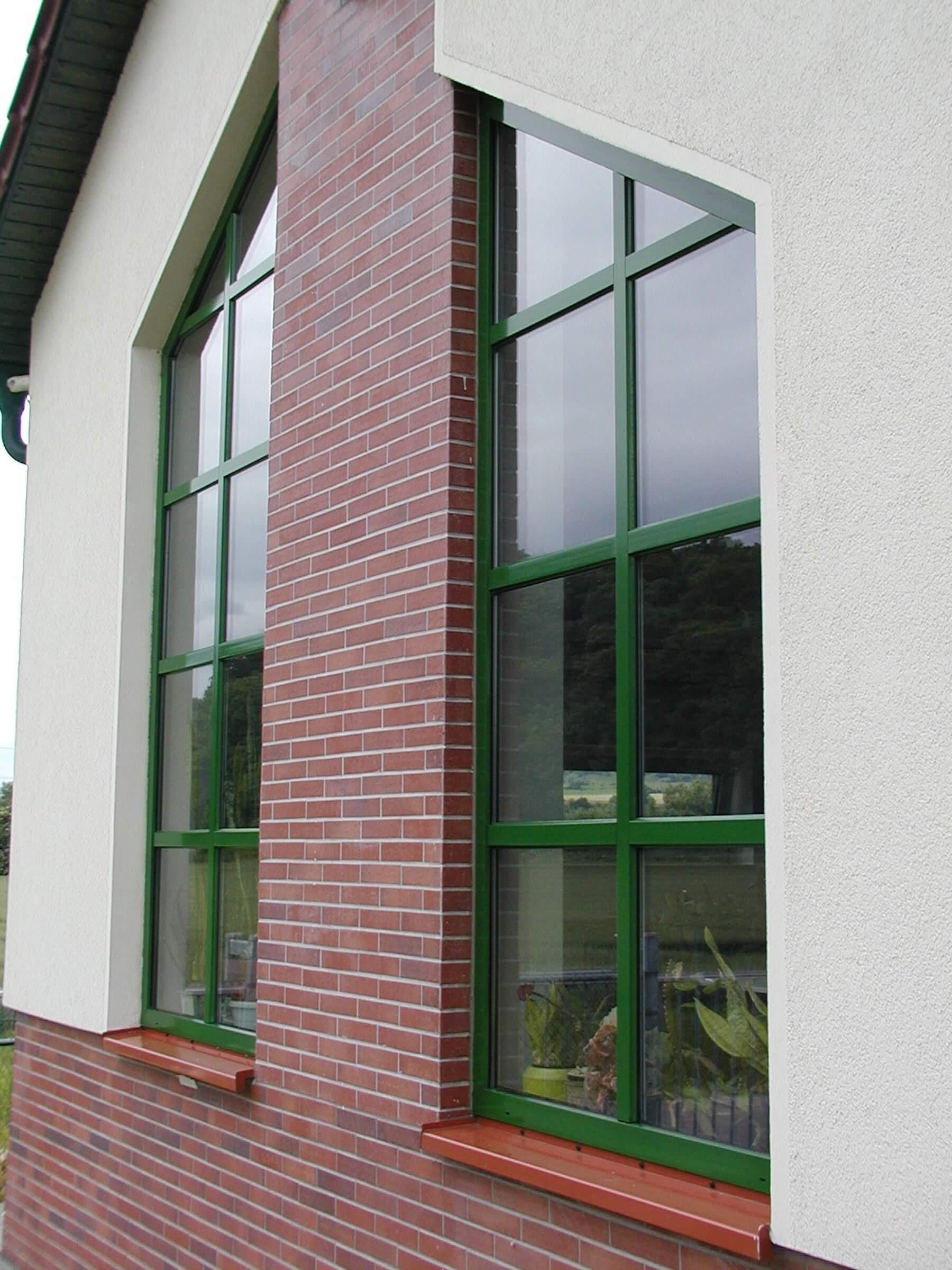 Tall deep green windows