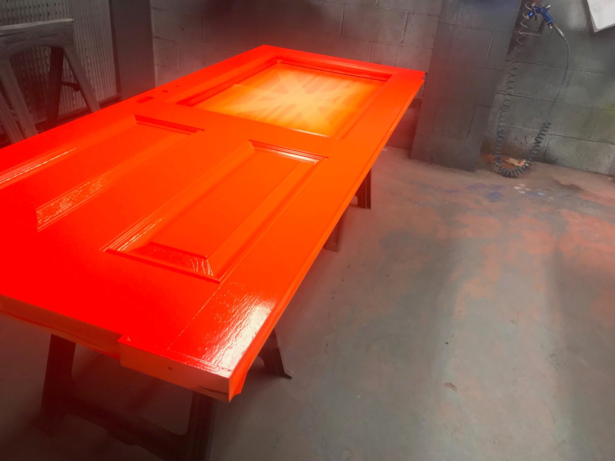 Spray painted orange door